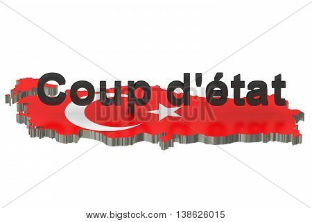 Turkey coup d'etat concept 3D rendering isolated on white background