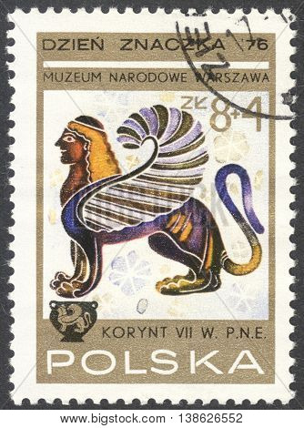MOSCOW RUSSIA - CIRCA FEBRUARY 2016: a post stamp printed in POLAND shows an image of a winged lion with a woman's head the series