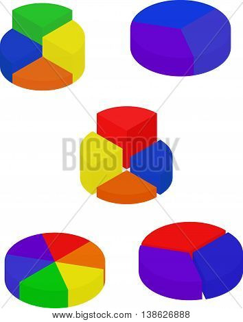 Set of color segmented diagrams, isometric style, infographgic element