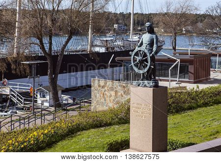 MARIEHAMN, ALAND ON MAY 07. View of an artwork, sculpture made by Emil Cedercreutz on May 07, 2016 in Mariehamn, Aland. Raised 1936 to remember sailors who lost their life in the ocean. Editorial use.