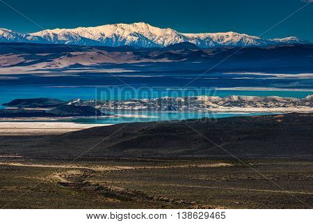 Mono Lake With Sierra Nevada In The Background
