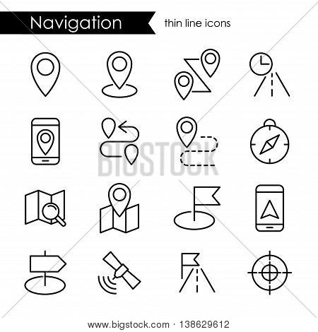 Navigation icon set, thin line stroke, route map and transportation