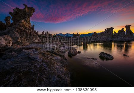 Tufa Towers At Mono Lake Against Beautiful Sunset Sky