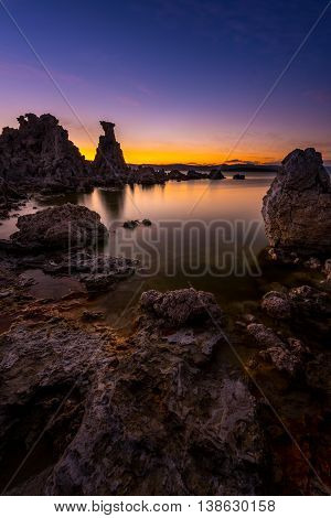 Mono Lake South Tufa After Sunset Vertical Composition