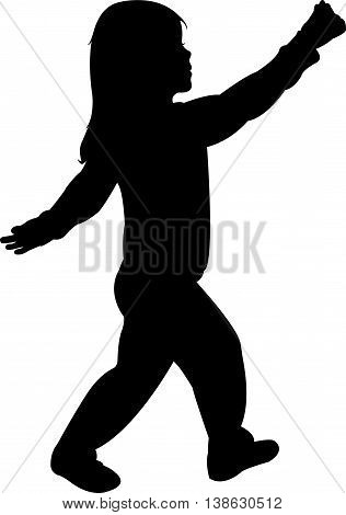a girl playing, black color silhouette vector