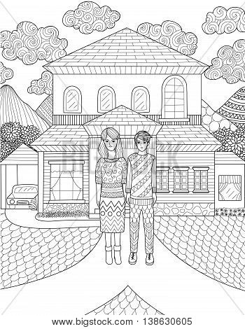 Doodles design of Mother and her son standing in front of their house making decision which way to go. Design for adult coloring book.