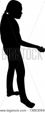 a beggar child body silhouette vector artwork