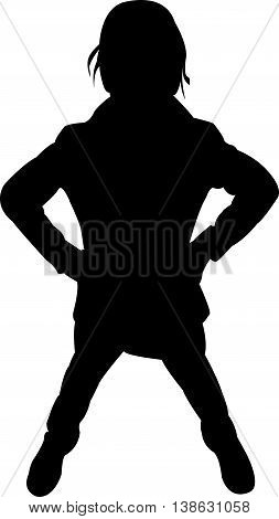 a girl body black color silhouette vector
