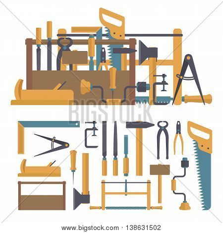 Vector set of carpenter tools and instruments in flat style. Design elements and icons isolated on white background. Home construction repair tools.