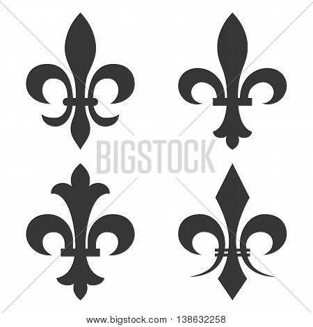 4 different design of fleur de lis vector