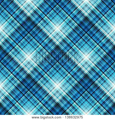 Checkered seamless blue pattern. Cowboy ornament. Abstract symmetrical background. Vector eps10