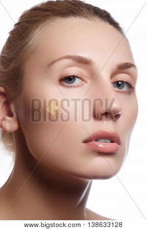 Close-up Portrait Of Beautiful Woman's Purity Face With Natural