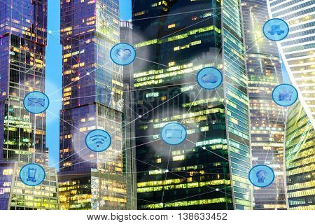 city lights and wireless communication network, IoT Internet of Things and ICT Information Communication Technology concept