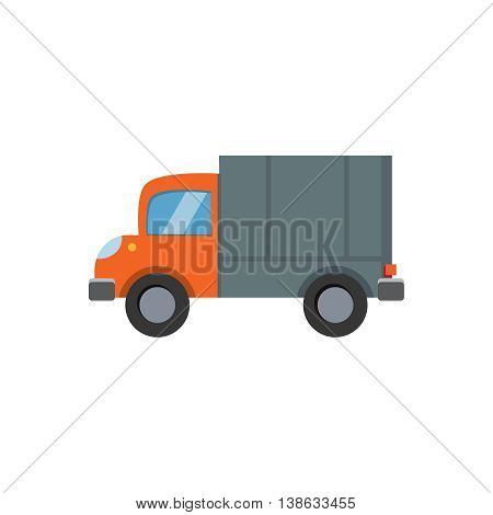 Flat style vector illustration lorry truck isolated on white background.
