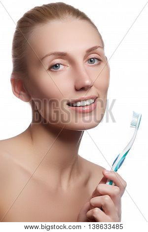 Beautiful Woman With Toothbrush. Dental Care Background. Closeup