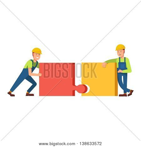 Builders construct the building of puzzles truck carries building blocks on scene. Building construction of puzzles. Flat vector concept illustration