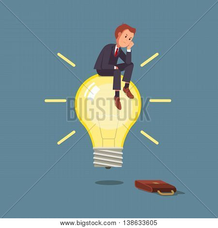 Businessman sitting on a light bulb and thinks business idea. Vector flat illustration business concept . Man in a business suit thinks sitting on the light bulb