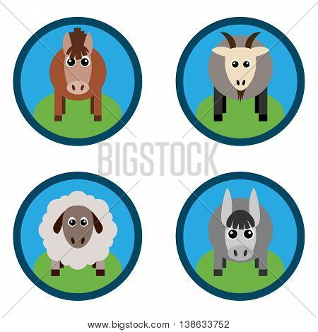 Vector illustration of farm animals and related items. Horse sheep goat a donkey on the grass. Grouped for easy editing.
