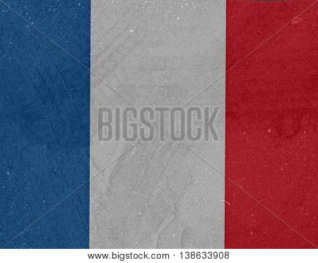 Tire tracks on the French flag , stronger French , pray for French , pray for Nice