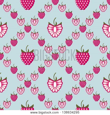 Seamless Fruits Vector Pattern, Background With Raspberries