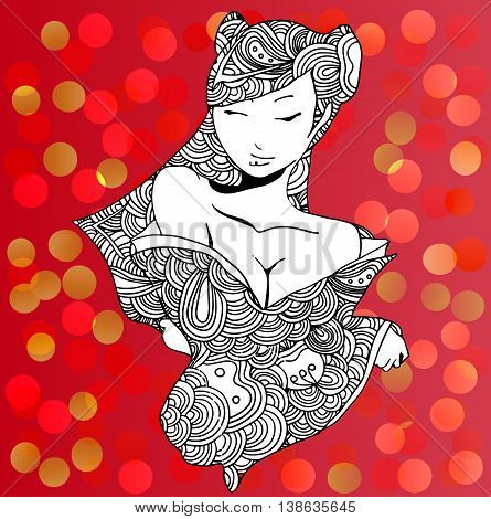 stylized vector illustration of a beautiful geisha girl. Japanese girl. Zentangle. Doodle style. Can be used as adult coloring book, coloring page, card. Mandala