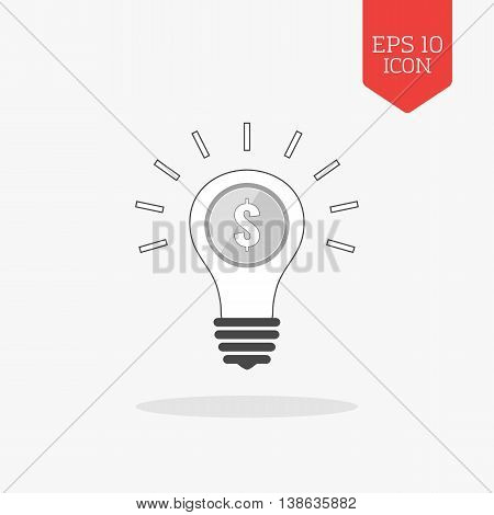 Lightbulb With Coin Inside, Profit Idea Concept Icon. Flat Design Gray Color Symbol. Modern Ui Web N
