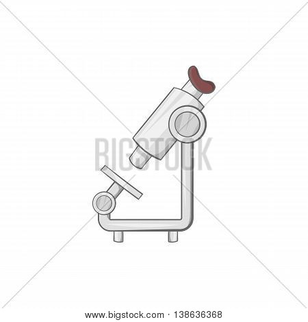Microscope icon in cartoon style on a white background