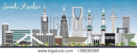 Saudi Arabia Skyline with Landmarks and Blue Sky. Business Travel and Tourism Concept. Image for Presentation Banner Placard and Web Site.