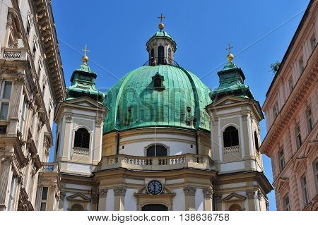 Dome of St Peter church in Vienna city Austria
