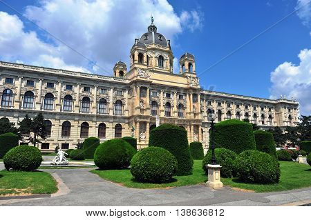 Museum quarter and city park of Vienna Austria