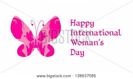 Greeting card with Happy International woman's day. Butterfly with female silhouettes on wings. Vector illustration.