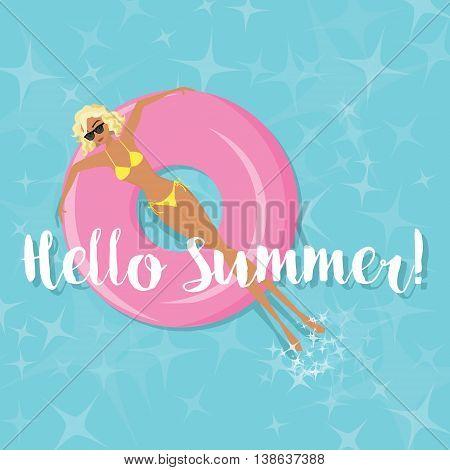 Summer Fun - Woman Sunbathing in the Swimming Pool - Vector eps10