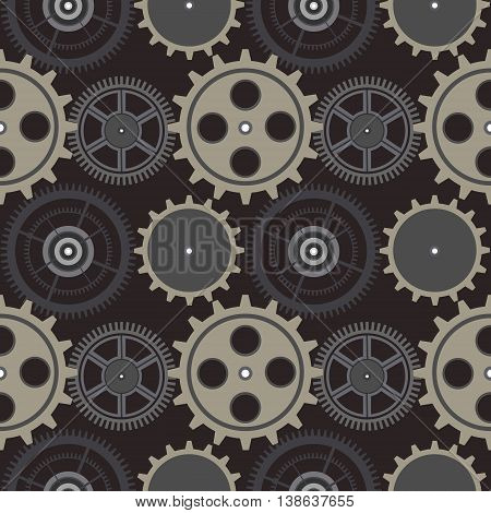 Seamless Vector Pattern, Background With Elements Of The Mechanism Of Watch
