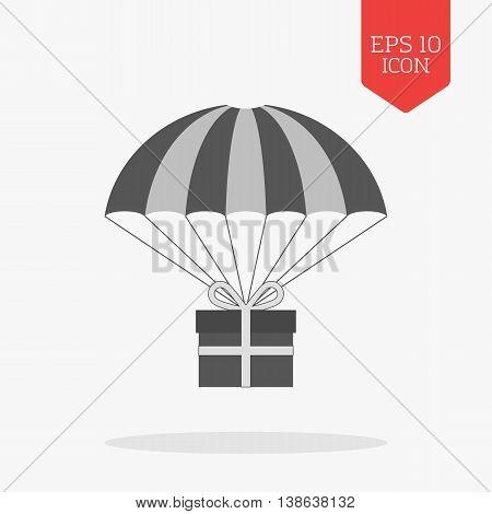 Giftbox On Parachute Icon, Bonus Concept. Flat Design Gray Color Symbol. Modern Ui Web Navigation, S