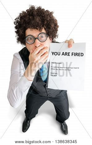 Disappointed Employee Is Showing Paper With You Are Fired Messag