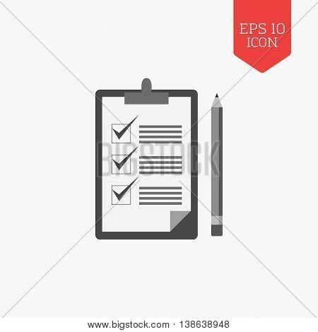 Checklist With Pencil Icon. Flat Design Gray Color Symbol. Modern Ui Web Navigation, Sign.