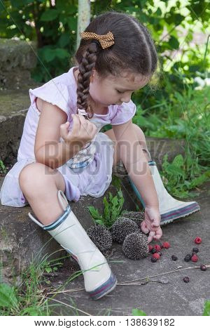 Baby girl playing with a hedgehogs outdoors