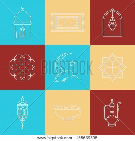 Symbols for muslim community. Kadir Gecesi Vector illustration in mono line style. For invitations, business, print.