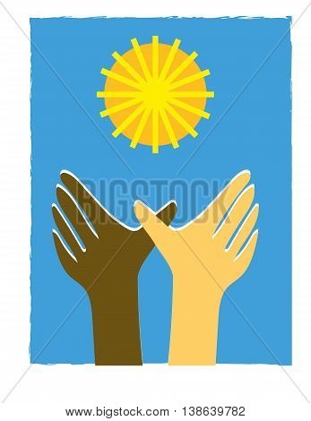 Two brown and white hands reaching for a stylized sun as a metaphor for equality or solar energy