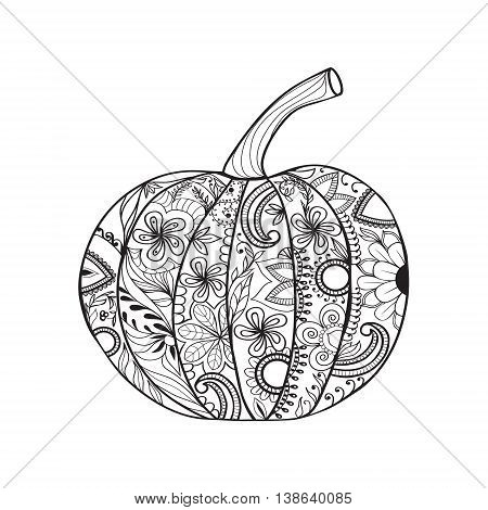 Zentangle style Pumpkin for Thanksgiving day Halloween. Hand drawn sketch for adult anti stress coloring page with doodle elements.