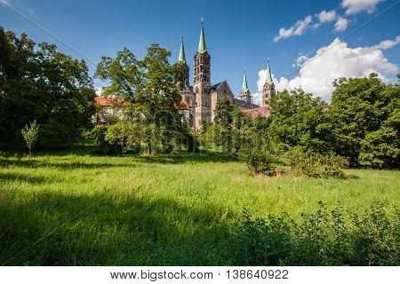 View up to the famouse cathedral in Bamberg