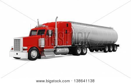 Red Fuel Tanker Truck isolated on white background. 3D render