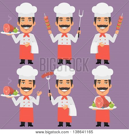 Vector Illustration, Chef Holding Tray and Meat, Format EPS 8