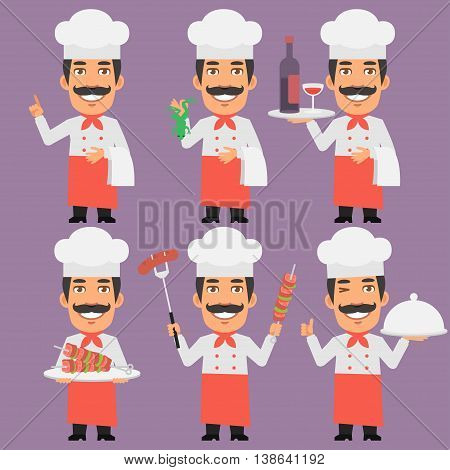 Vector Illustration, Chef Holding Tray Skewers Frog and Wine, Format EPS 8