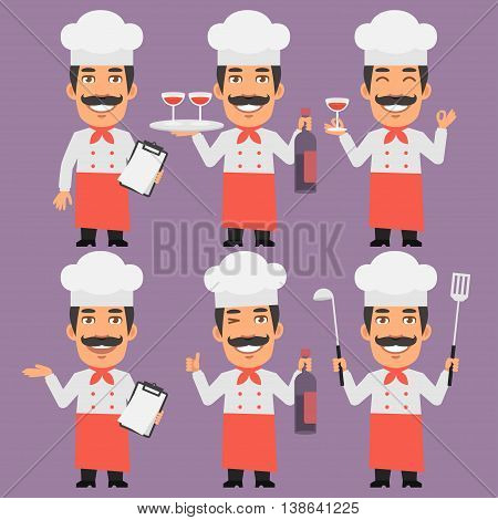 Vector Illustration, Chef Holds Wine and Notebook, Format EPS 8