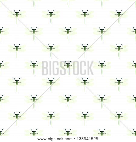 Seamless Vector Pattern With Insects, Background With Dragonflies
