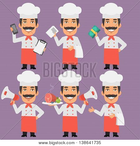 Vector Illustration, Chef Holds Money Phone and Megaphone, Format EPS 8