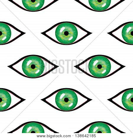 Seamless Abstract Vector Pattern, Bright Symmetrical Background With Green Eyes
