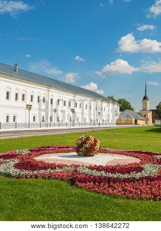 Street decorated with flower bed in the ancient Russian city of Kolomna
