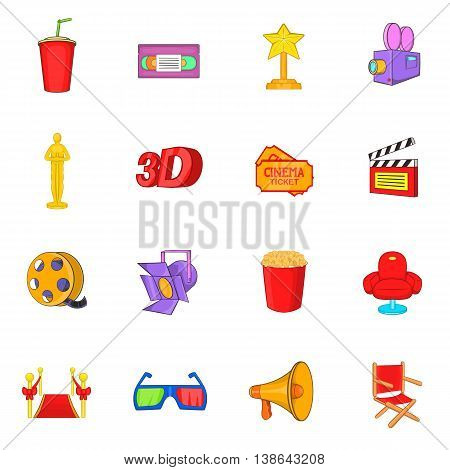 Cinema icons in cartoon style. Movie set collection isolated vector illustration